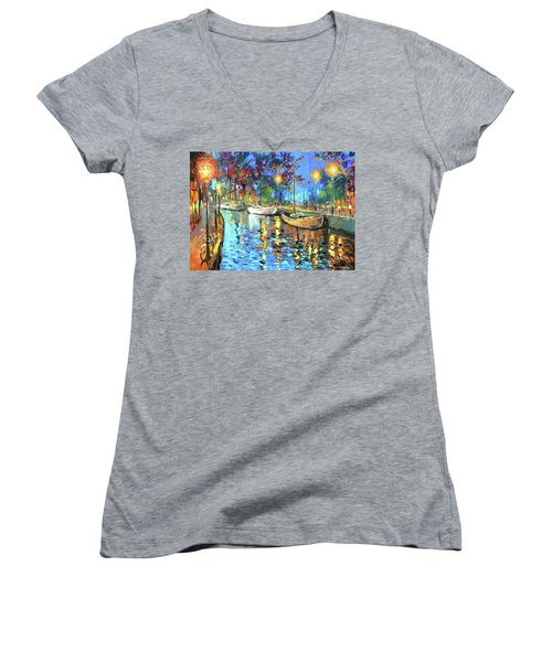 Women's V-Neck T-Shirt (Junior Cut) featuring the painting The Lights Of The Sleeping City by Dmitry Spiros