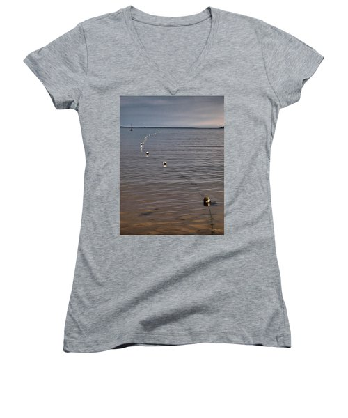 Women's V-Neck T-Shirt (Junior Cut) featuring the photograph The Line by Jouko Lehto