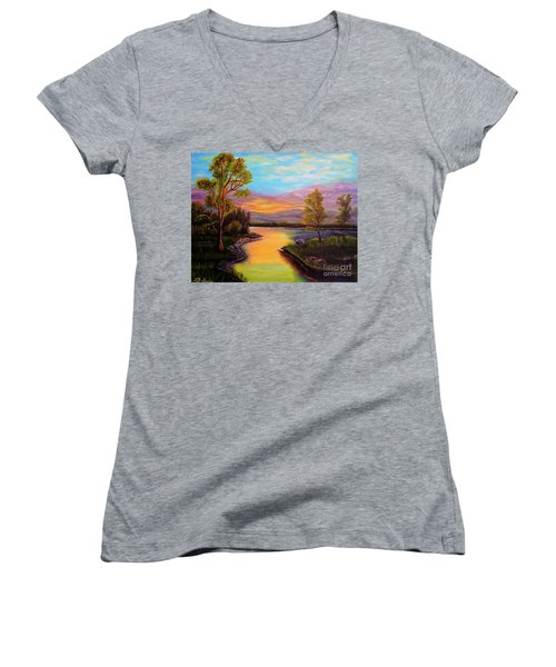 The Liquid Fire Of A Painted Golden Sunset Women's V-Neck (Athletic Fit)