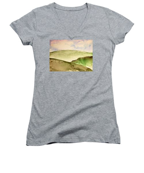Women's V-Neck T-Shirt (Junior Cut) featuring the painting The Little Hills Rejoice by Antonio Romero