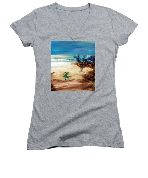 Women's V-Neck T-Shirt featuring the painting The Little Pine Tree by Winsome Gunning