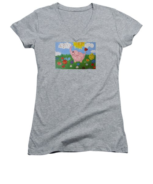 Little Pink Elephant Women's V-Neck T-Shirt (Junior Cut) by Rita Fetisov