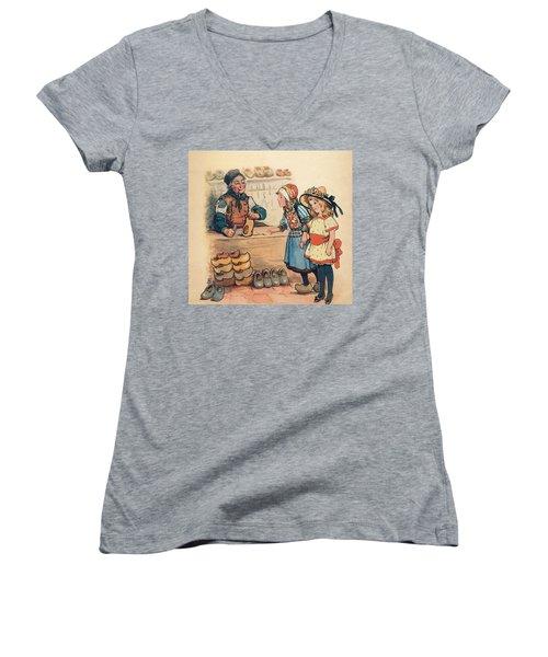The Little Wooden Shoe Maker Women's V-Neck T-Shirt (Junior Cut) by Reynold Jay