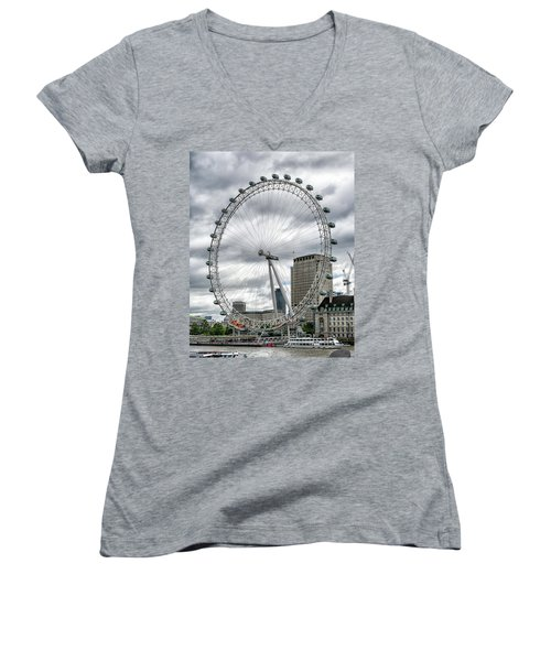 The London Eye Women's V-Neck T-Shirt (Junior Cut) by Alan Toepfer