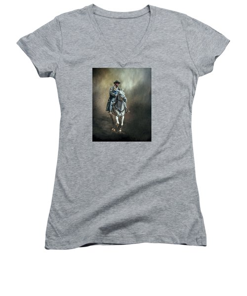 Women's V-Neck T-Shirt (Junior Cut) featuring the photograph The Lone Drifter by Brian Tarr