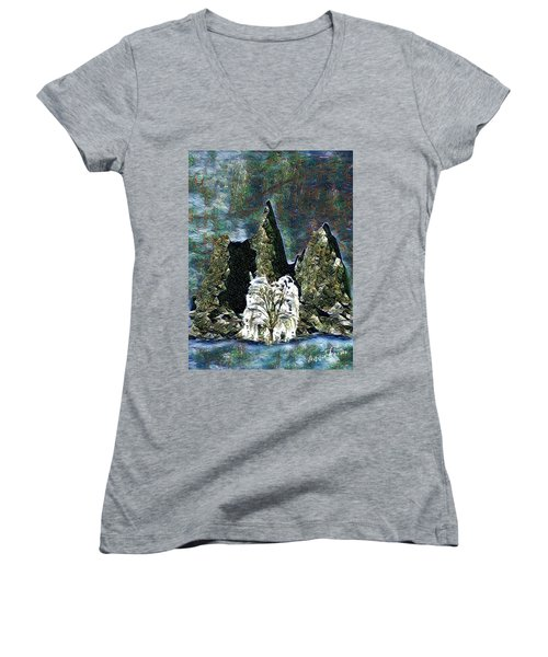 The Loneliest Tree Women's V-Neck T-Shirt (Junior Cut) by Vennie Kocsis