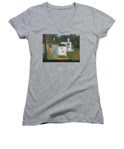 Women's V-Neck T-Shirt (Junior Cut) featuring the painting The Lonely Side Of The Lake by Glenn Quist