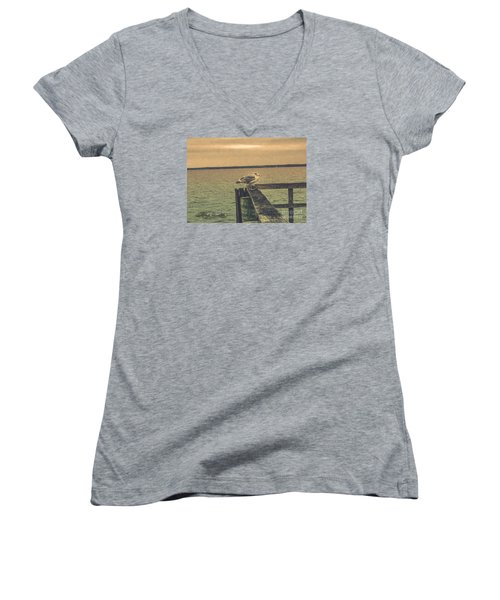 Women's V-Neck T-Shirt (Junior Cut) featuring the photograph The Loner by Melissa Messick