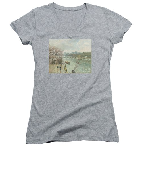 The Louvre, Afternoon, Rainy Weather, 1900  Women's V-Neck (Athletic Fit)
