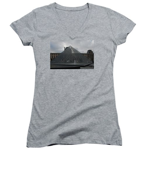 Women's V-Neck T-Shirt (Junior Cut) featuring the photograph The Louvre And I.m. Pei by Christopher Kirby