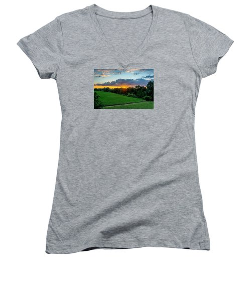 Women's V-Neck T-Shirt (Junior Cut) featuring the photograph The Lower Rhine Region by Sabine Edrissi