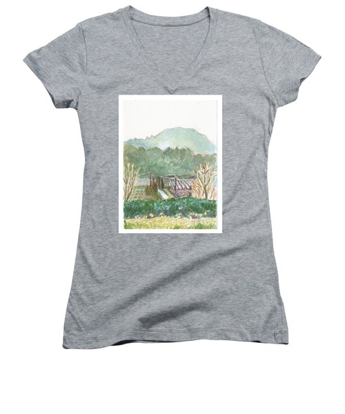 The Luberon Valley Women's V-Neck T-Shirt (Junior Cut)