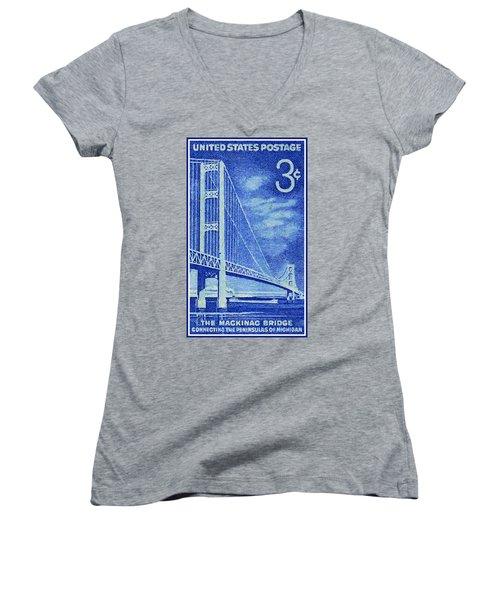 The Mackinac Bridge Stamp Women's V-Neck T-Shirt (Junior Cut) by Lanjee Chee