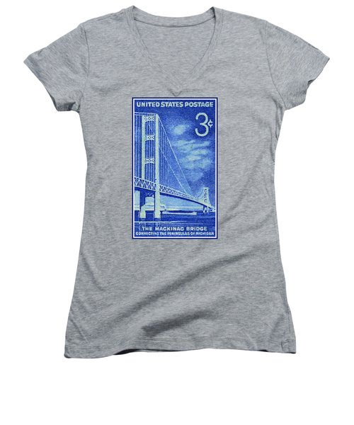The Mackinac Bridge Stamp Women's V-Neck (Athletic Fit)