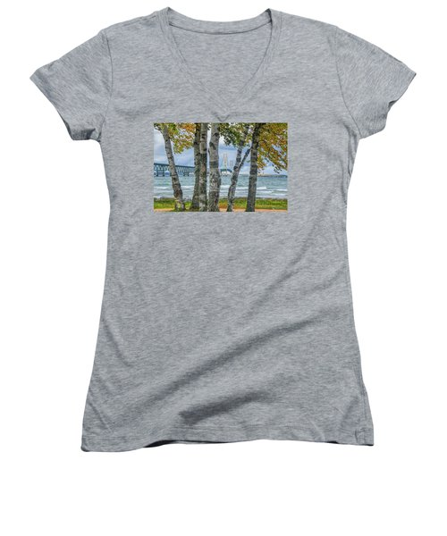 The Mackinaw Bridge By The Straits Of Mackinac In Autumn With Birch Trees Women's V-Neck
