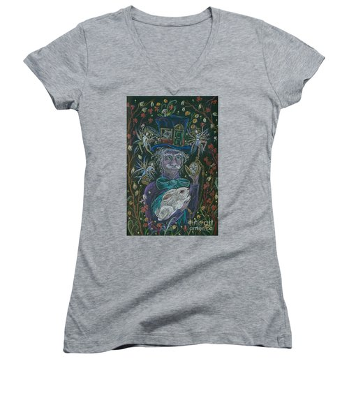 The Maddening Hatter Women's V-Neck T-Shirt (Junior Cut) by Dawn Fairies