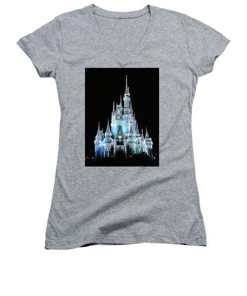 The Magic Kingdom Castle In Frosty Light Blue Walt Disney World Mp Women's V-Neck T-Shirt (Junior Cut) by Thomas Woolworth
