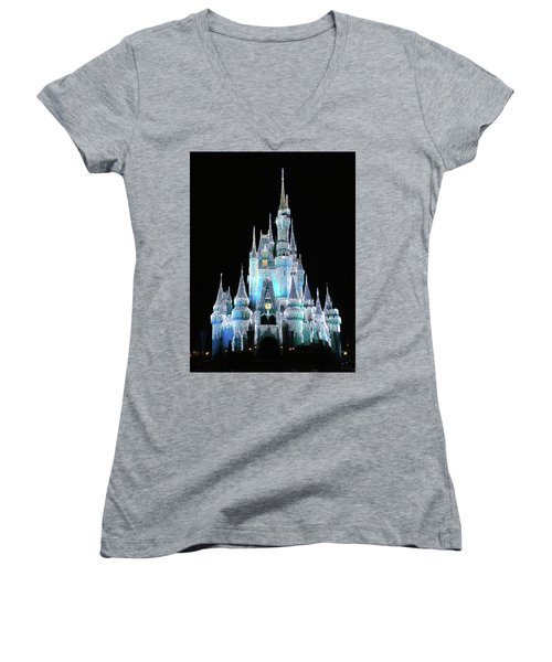 The Magic Kingdom Castle In Frosty Light Blue Walt Disney World Mp Women's V-Neck T-Shirt