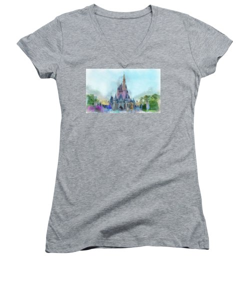 The Magic Kingdom Castle Wdw 05 Photo Art Women's V-Neck (Athletic Fit)