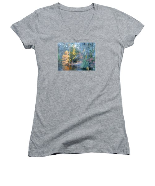 The Magic Of Autumn Sunshine Women's V-Neck T-Shirt (Junior Cut) by Kay Gilley