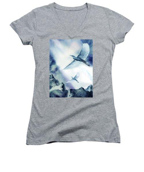 The Magic Of Flight Women's V-Neck T-Shirt (Junior Cut) by Hartmut Jager