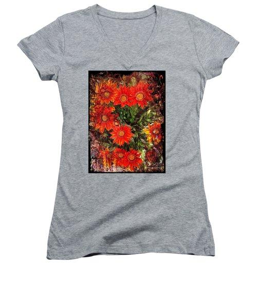 The Magical Flower Garden Women's V-Neck T-Shirt