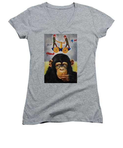 The Magnificent Flying Strauss Women's V-Neck T-Shirt (Junior Cut) by Jean Cormier