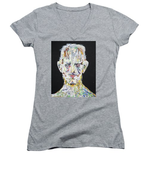 Women's V-Neck T-Shirt (Junior Cut) featuring the painting The Man Who Tried To Become A Mountain by Fabrizio Cassetta