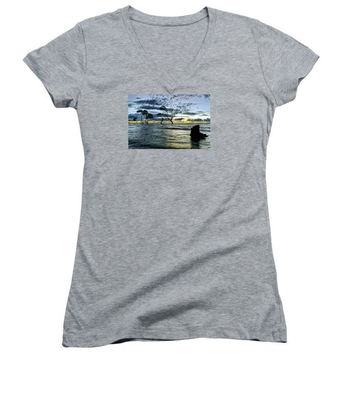 The Mangrove Trees Women's V-Neck T-Shirt (Junior Cut) by Robert Charity