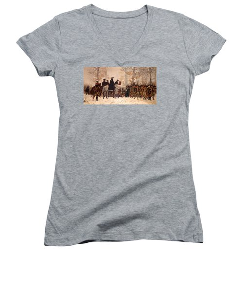 The March To Valley Forge Women's V-Neck T-Shirt (Junior Cut) by Mountain Dreams
