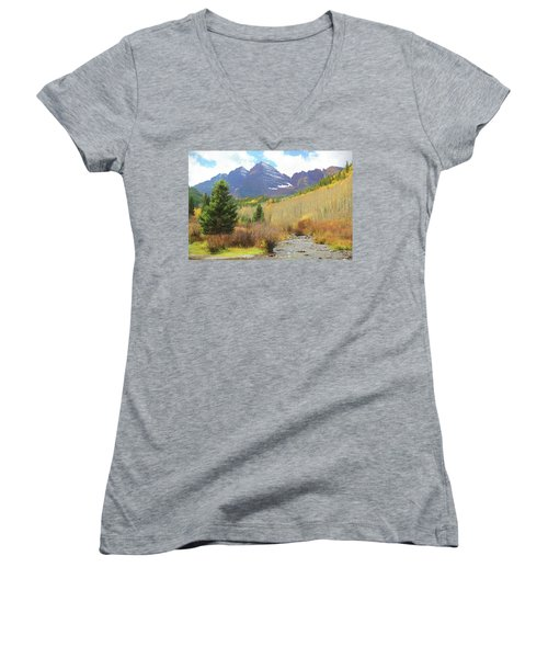Women's V-Neck T-Shirt (Junior Cut) featuring the photograph The Maroon Bells Reimagined 3 by Eric Glaser