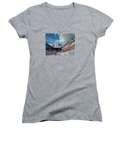 The Maroon Bells Twin Peaks Just Outside Aspen Women's V-Neck T-Shirt