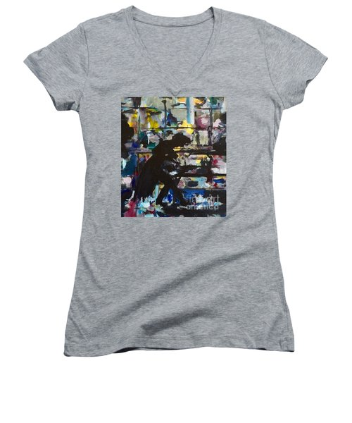 Women's V-Neck T-Shirt (Junior Cut) featuring the painting The Master by Ellen Anthony