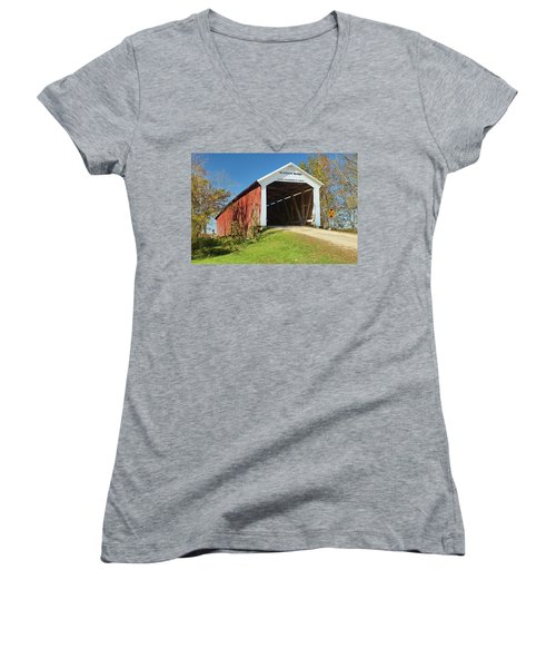 Women's V-Neck T-Shirt (Junior Cut) featuring the photograph The Mcallister Covered Bridge by Harold Rau
