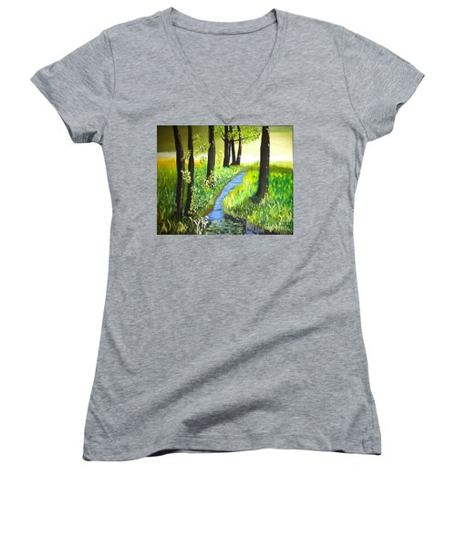 Women's V-Neck T-Shirt (Junior Cut) featuring the painting The Meadow by Rod Jellison