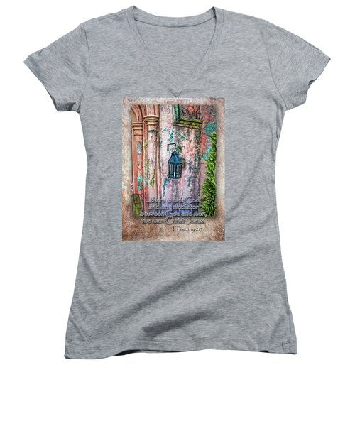 The Mediator Women's V-Neck T-Shirt (Junior Cut) by Larry Bishop