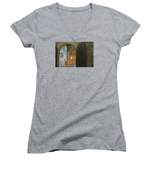 An Early Morning At The Medieval Abbey Women's V-Neck T-Shirt (Junior Cut) by Yvonne Wright