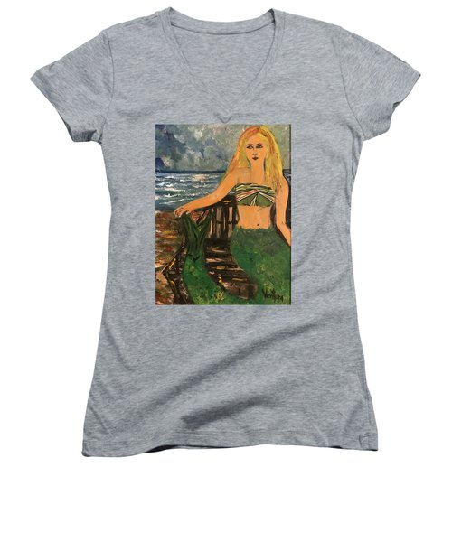 The Mermaid Of Kanaha Pond Women's V-Neck (Athletic Fit)