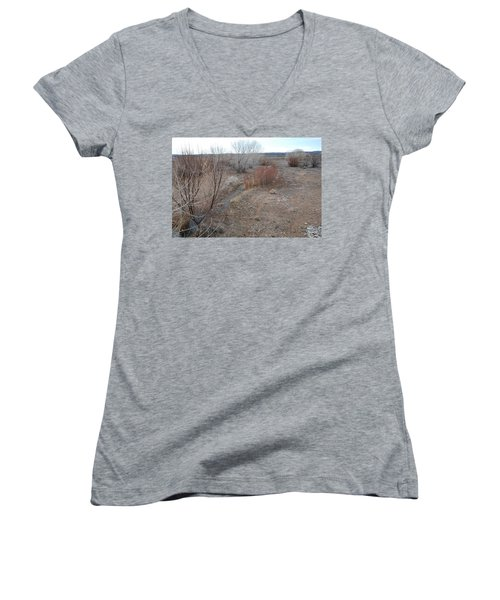 Women's V-Neck T-Shirt (Junior Cut) featuring the photograph The Mighty Santa Fe River by Rob Hans