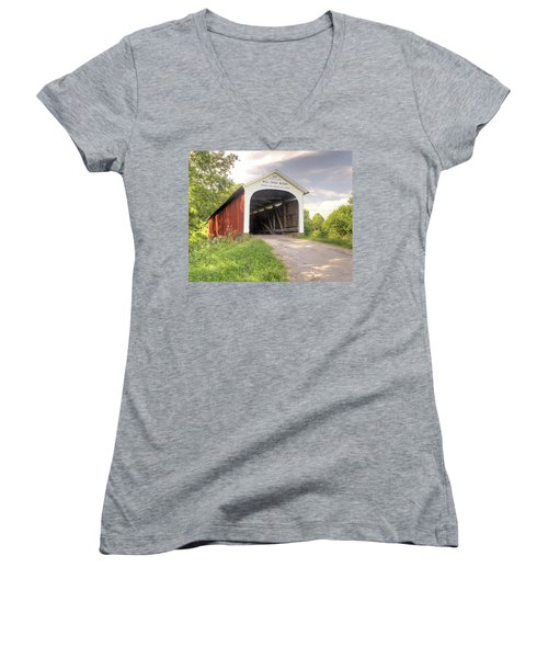 The Mill Creek Covered Bridge Women's V-Neck (Athletic Fit)