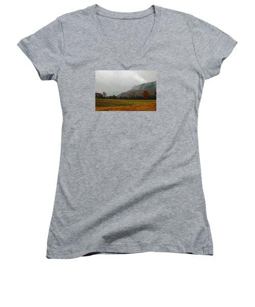 Women's V-Neck T-Shirt (Junior Cut) featuring the photograph The Mist by John Stuart Webbstock
