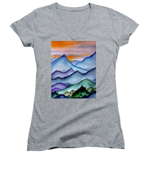 The Misty Mountains Women's V-Neck (Athletic Fit)