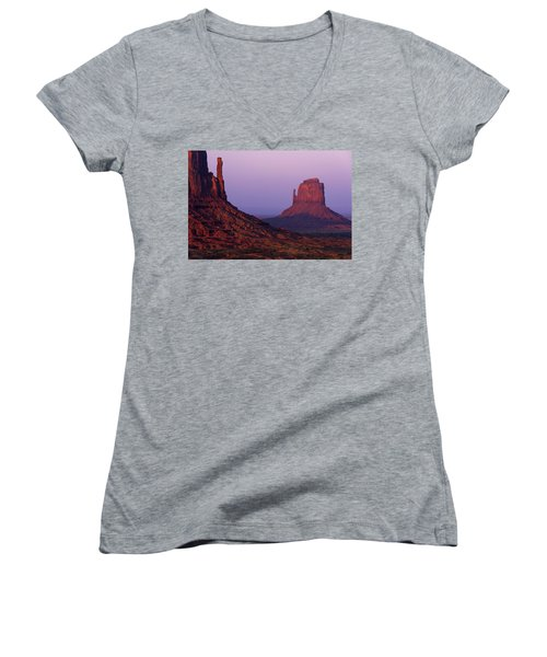 Women's V-Neck T-Shirt (Junior Cut) featuring the photograph The Mittens by Chad Dutson