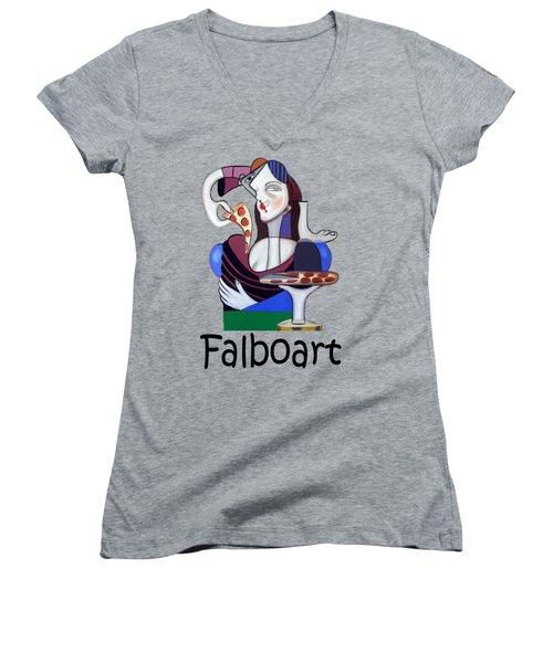 The Mona Pizza T-shirt Women's V-Neck T-Shirt (Junior Cut) by Anthony Falbo