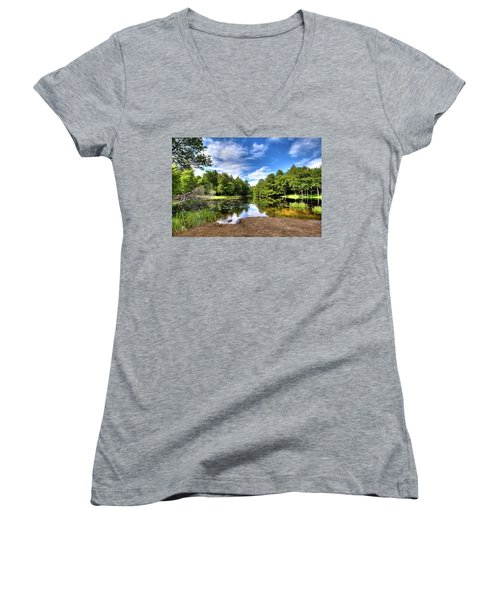 Women's V-Neck T-Shirt featuring the photograph The Moose River At Covewood by David Patterson