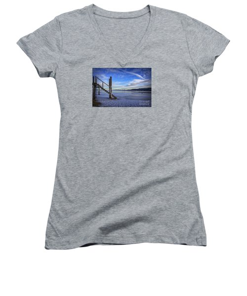 The Morning After Blues Women's V-Neck T-Shirt (Junior Cut) by Mitch Shindelbower