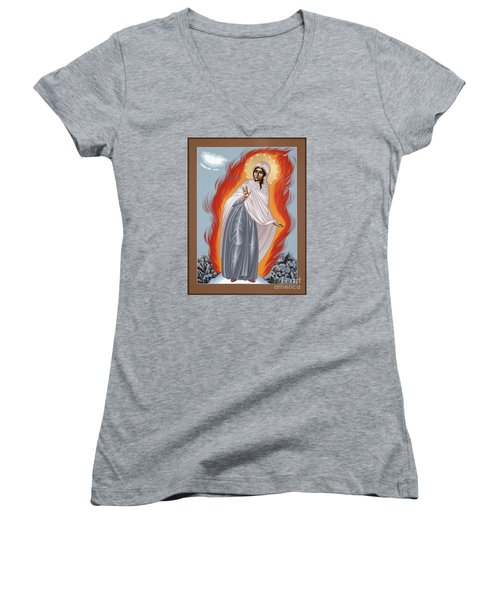 Women's V-Neck T-Shirt featuring the painting The Mother Of God Of Medjugorgie 084 by William Hart McNichols