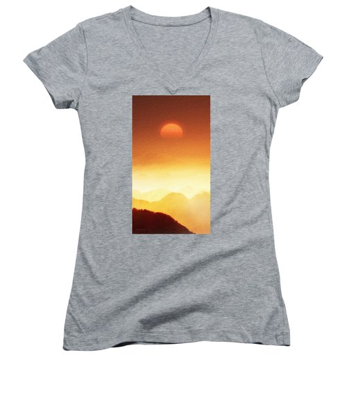 The Mountains  Women's V-Neck (Athletic Fit)