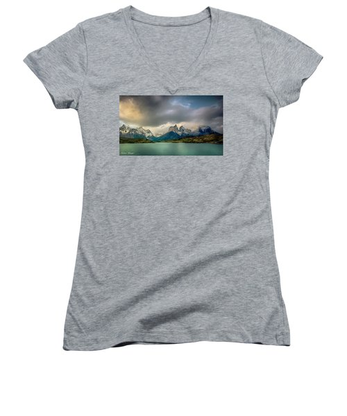 Women's V-Neck T-Shirt (Junior Cut) featuring the photograph The Mountains On The Lake by Andrew Matwijec
