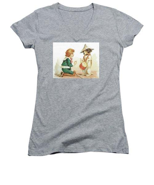 The Musical Pooch Women's V-Neck T-Shirt (Junior Cut) by Reynold Jay
